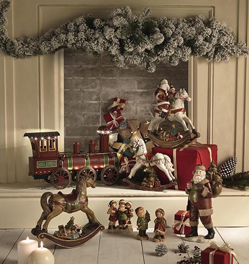 statuette Babbo Natale e Cavallo a dondolo di Brandani