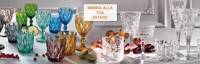 Bicchieri e calici in cristallo e vetro
