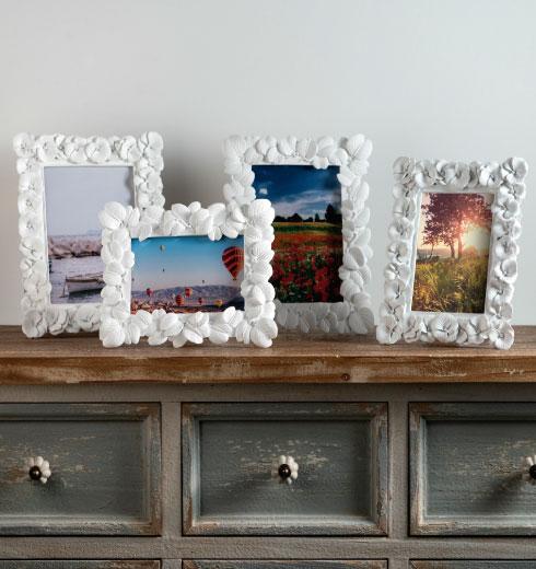 : Portafoto Brandani linee Foglia e Primula colore bianco