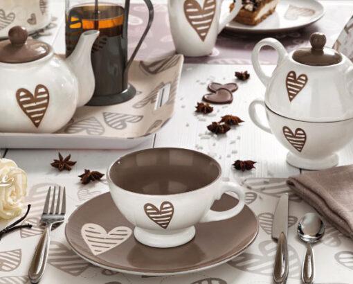set colazione Batticuore di Brandani, tazza, teiera, tazzine