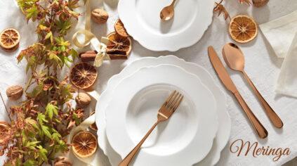 Servizio Piatti bianchi Meringa e Posate Rose Gold Brandani