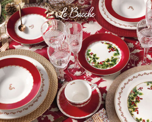 Tag ALT - IMMAGINE PRINCIPALE : Servizio Piatti Natale e tavola Natalizia Brandani Bacche