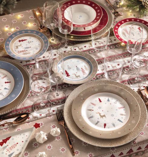 Tavola Fiocco di Neve: piatti, tazze, tazzine Natale