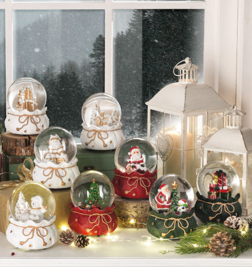 Christmas ornaments by Brandani: Santa Christmas Tree snow globe