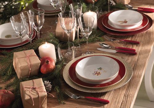 Brandani's Alleluia: porcelain 18 pcs dinner set and Christmas underplates