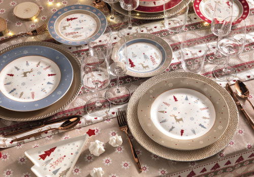 Brandani's porcelain Christmas plates and underplates set – Fiocco di Neve