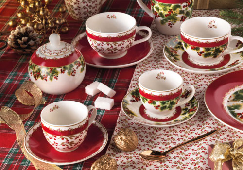 Brandani's Le Bacche: Christmas coffee cups set, Christmas tea cups set, Christmas mug and sugar pot.