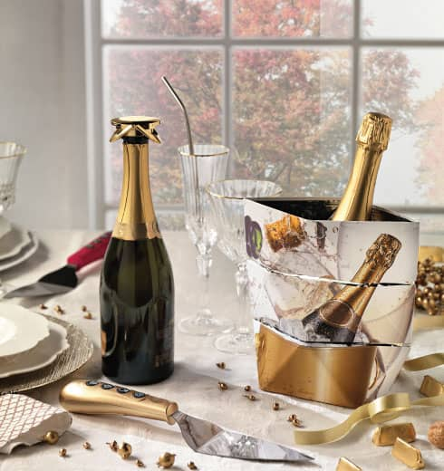 Champagne glacette and champagne bottle cap by Brandani