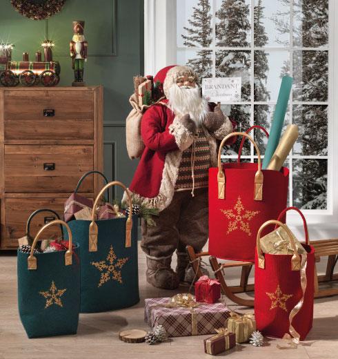 Statuetta Babbo Natale e sacca in feltro natalizia di Brandani