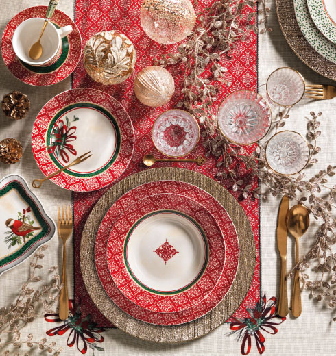 Porcelain Christmas serving plates - Brandani