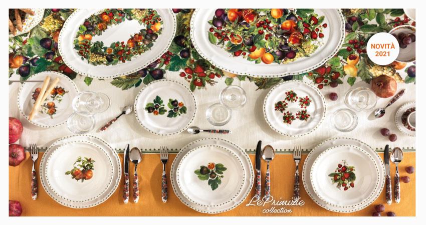 Servizio Piatti in porcellana decorati con frutti - Collezione Le Primizie di Brandani