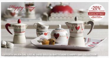 Tazzine caffè con cuori, Caffettiera cuori e Zuccheriera cuori - Happy Day Brandani