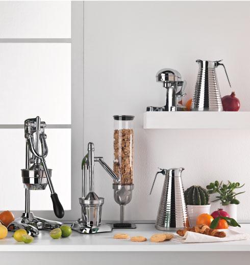 dispenser cereali, spremiagrumi e caraffa in acciaio inox Brandani
